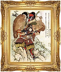 Katsushika Hokusai The Warrior Hatakeyama Shigetada Carrying His Horse Down The Hill After It Had Been Injured canvas with Majestic Gold frame