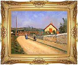 Camille Pissarro Railway Crossing At Patis Near Pontoise canvas with Majestic Gold frame