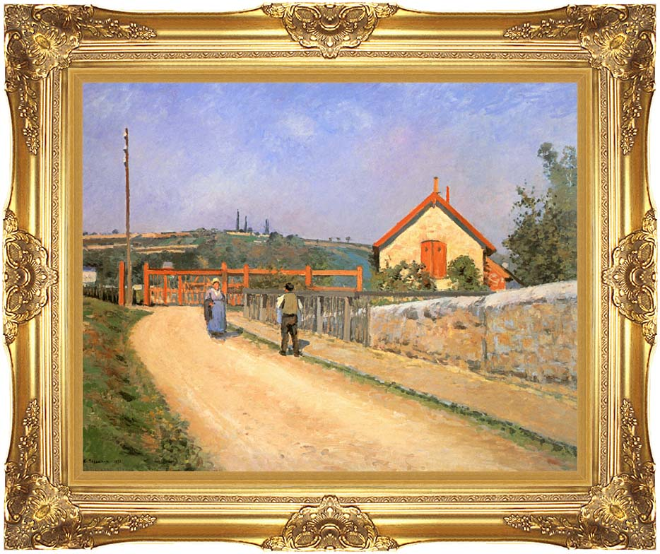 Camille Pissarro Railway Crossing at Patis, near Pontoise with Majestic Gold Frame