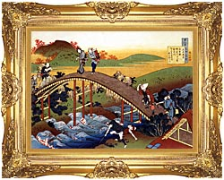 Katsushika Hokusai Travelers On The Bridge Near The Ono Waterfall On The Kisokaido Road canvas with Majestic Gold frame