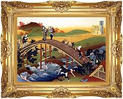 Katsushika Hokusai Travelers On The Bridge Near The Ono Waterfall On The Kisokaido Road canvas with Majestic Gold frame