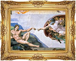 Michelangelo Buonarroti The Creation Of Adam canvas with Majestic Gold frame