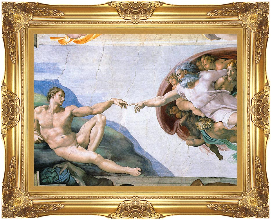 Michelangelo Buonarroti The Creation of Adam with Majestic Gold Frame