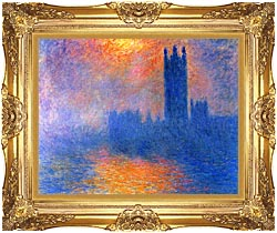 Claude Monet Houses Of Parliament London Sun Breaking Through The Fog canvas with Majestic Gold frame