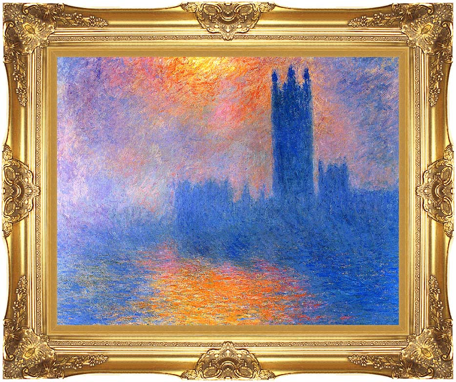 Claude Monet Houses of Parliament, London, Sun Breaking Through the Fog with Majestic Gold Frame