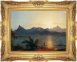 Martin Johnson Heade Sunset Harbor At Rio De Janeiro Detail canvas with Majestic Gold frame