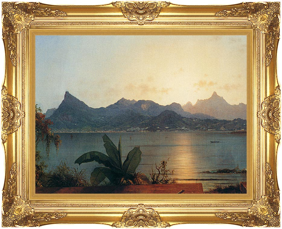 Martin Johnson Heade Sunset Harbor at Rio de Janeiro (detail) with Majestic Gold Frame