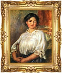 Pierre Auguste Renoir Young Girl Seated canvas with Majestic Gold frame