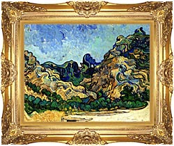 Vincent Van Gogh Mountains At Saint Remy canvas with Majestic Gold frame