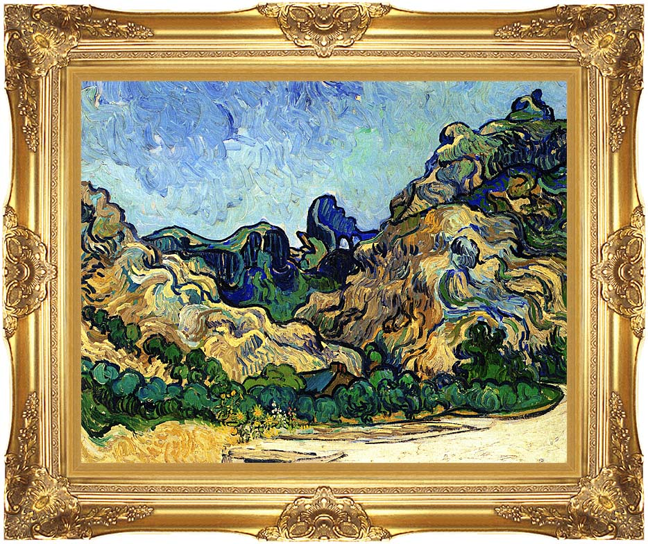 Vincent van Gogh Mountains at Saint Remy with Majestic Gold Frame