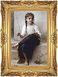 William Bouguereau Young Seamstress Sewing canvas with Majestic Gold frame