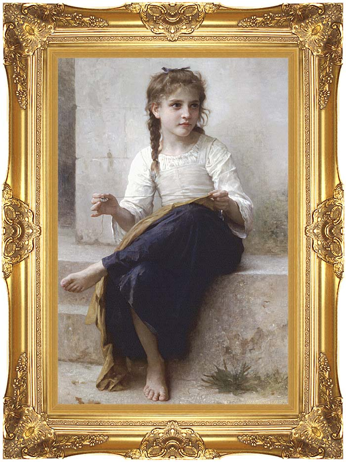 William Bouguereau Young Seamstress Sewing with Majestic Gold Frame