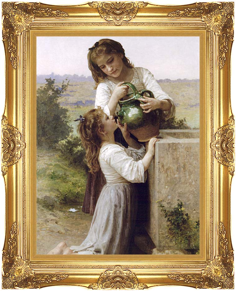 William Bouguereau At the Fountain with Majestic Gold Frame