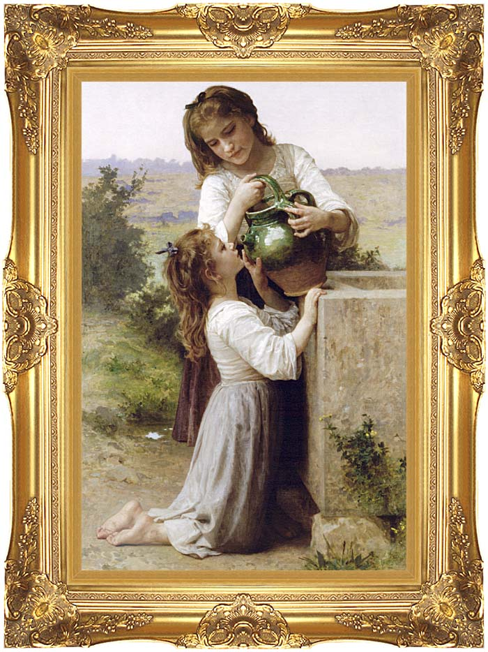 William Bouguereau Girls At the Fountain with Majestic Gold Frame