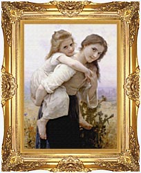 William Bouguereau Not Too Much To Carry canvas with Majestic Gold frame