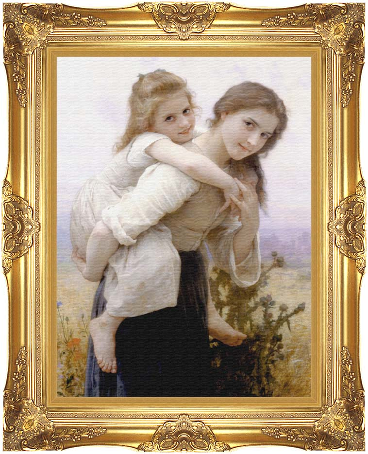 William Bouguereau Not Too Much to Carry with Majestic Gold Frame