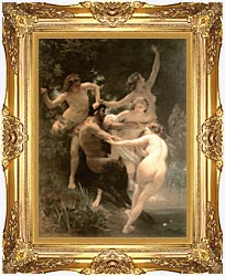 William Bouguereau Nymphs And Satyr canvas with Majestic Gold frame