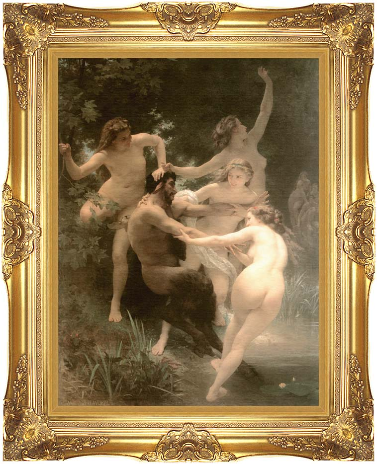 William Bouguereau Nymphs and Satyr with Majestic Gold Frame