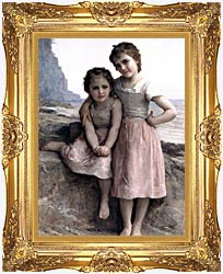 William Bouguereau On The Rocky Beach canvas with Majestic Gold frame