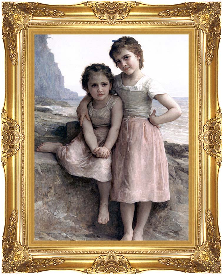 William Bouguereau On the Rocky Beach with Majestic Gold Frame