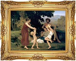 William Bouguereau Pastoral canvas with Majestic Gold frame
