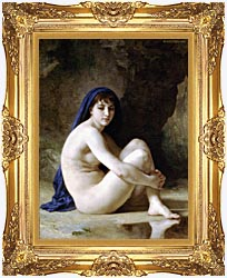 William Bouguereau Seated Nude canvas with Majestic Gold frame