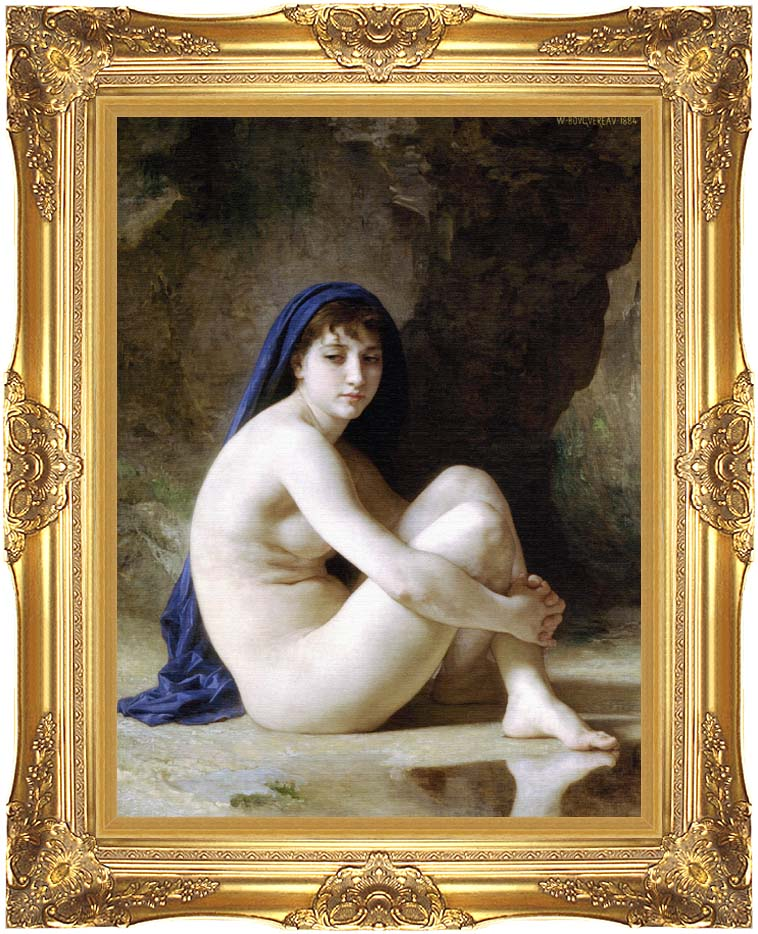 William Bouguereau Seated Nude with Majestic Gold Frame