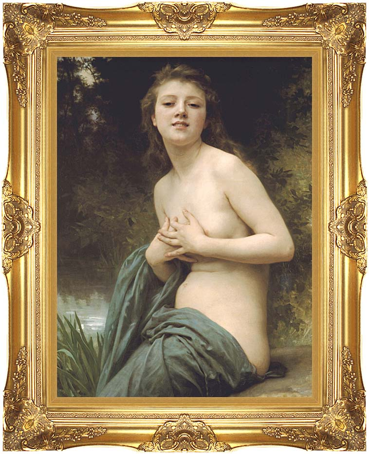 William Bouguereau Spring Breeze with Majestic Gold Frame