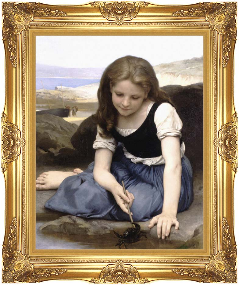 William Bouguereau The Crab with Majestic Gold Frame