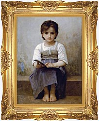 William Bouguereau The Difficult Lesson canvas with Majestic Gold frame