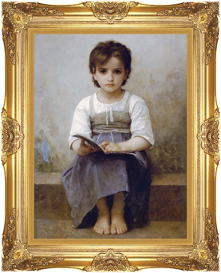 William Bouguereau The Difficult Lesson with Majestic Gold Frame