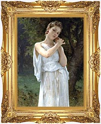 William Bouguereau The Earrings canvas with Majestic Gold frame