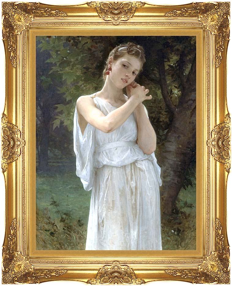 William Bouguereau The Earrings with Majestic Gold Frame