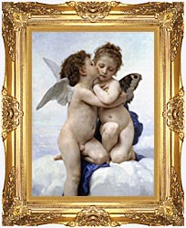 William Bouguereau The First Kiss canvas with Majestic Gold frame
