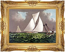 Currier And Ives Sailboats Nearing The Finish Line canvas with Majestic Gold frame