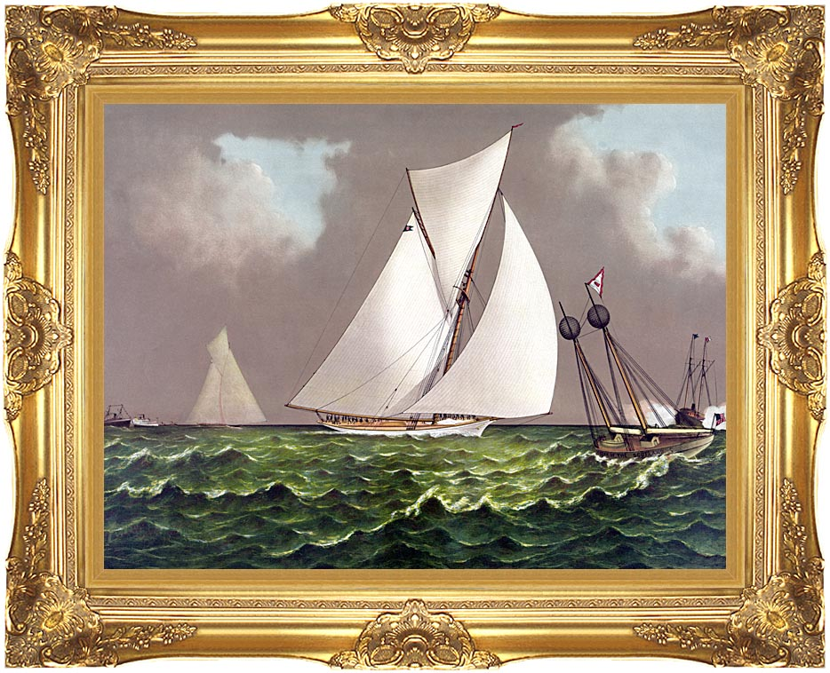 Currier and Ives Sailboats Nearing the Finish Line with Majestic Gold Frame