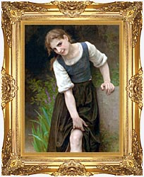 William Bouguereau The Ford canvas with Majestic Gold frame