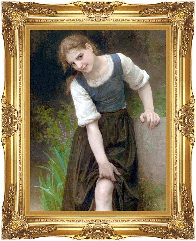 William Bouguereau The Ford with Majestic Gold Frame