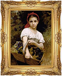 William Bouguereau The Grape Picker canvas with Majestic Gold frame