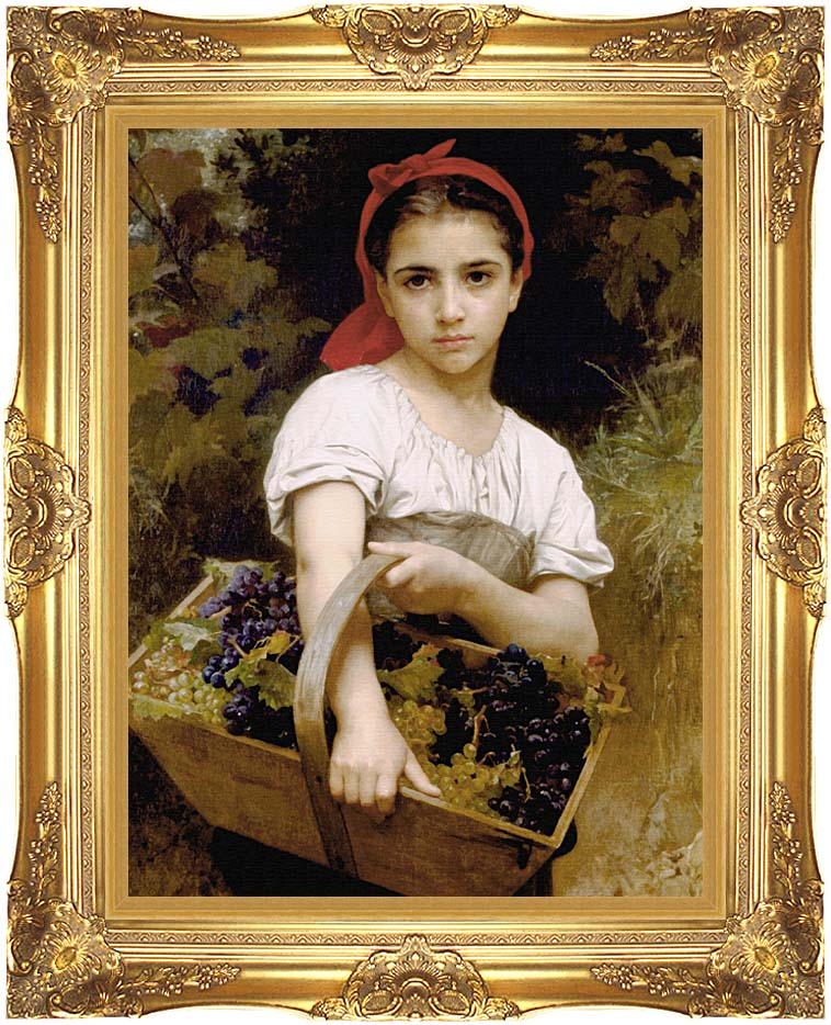 William Bouguereau The Grape Picker with Majestic Gold Frame