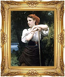 William Bouguereau The Haymaker canvas with Majestic Gold frame