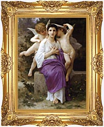 William Bouguereau The Hearts Awakening canvas with Majestic Gold frame