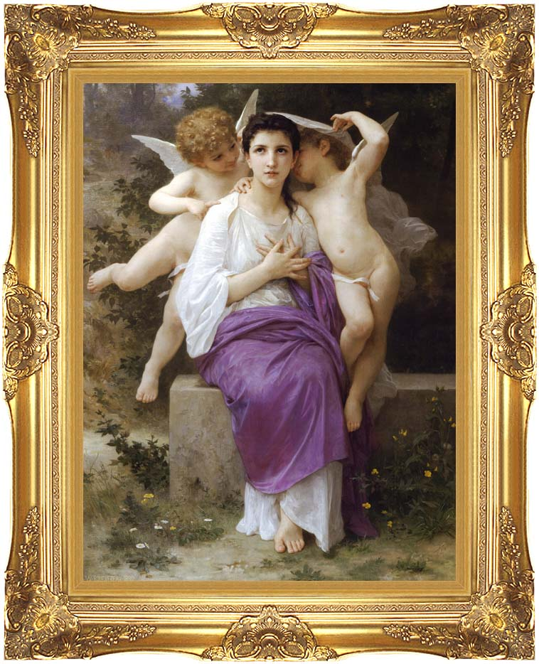 William Bouguereau The Heart's Awakening with Majestic Gold Frame