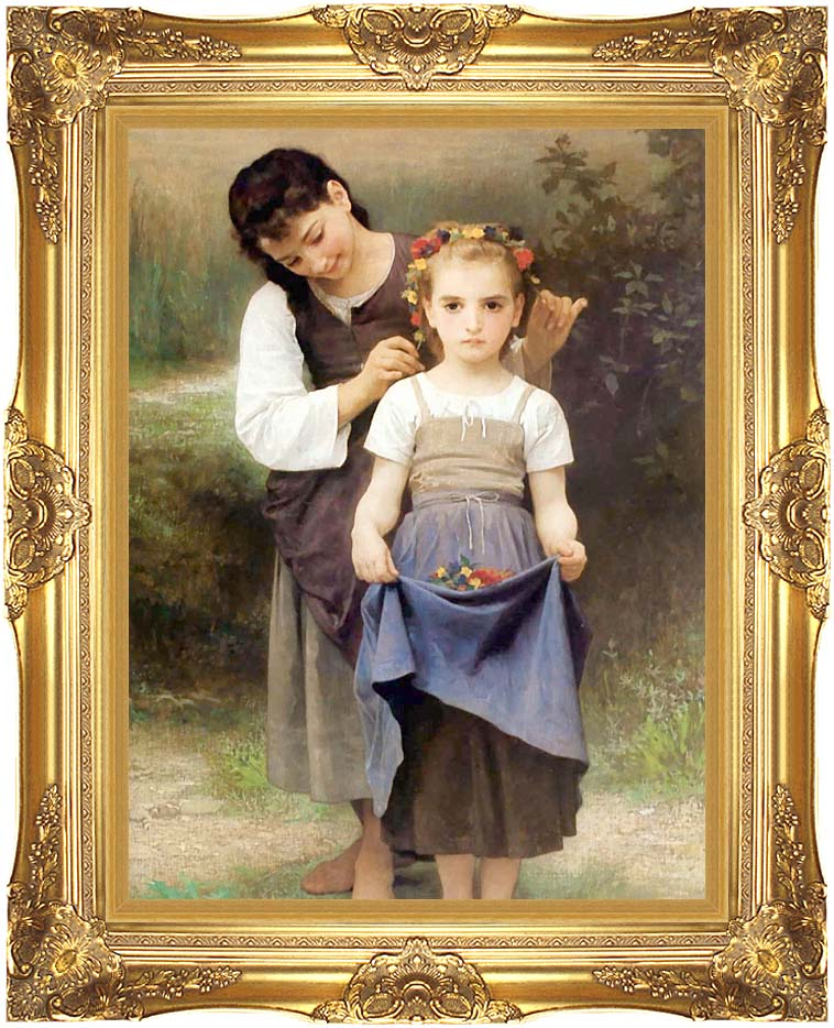 William Bouguereau The Jewel of the Fields with Majestic Gold Frame