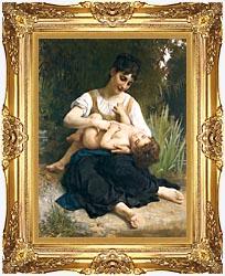 William Bouguereau The Joy Of Motherhood canvas with Majestic Gold frame