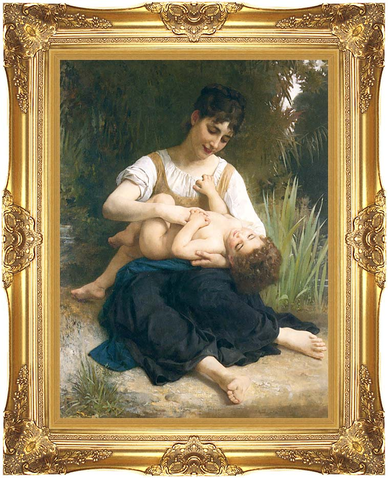 William Bouguereau The Joy of Motherhood with Majestic Gold Frame