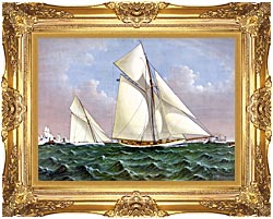 Currier And Ives Mayflower Saluted By The Fleet canvas with Majestic Gold frame