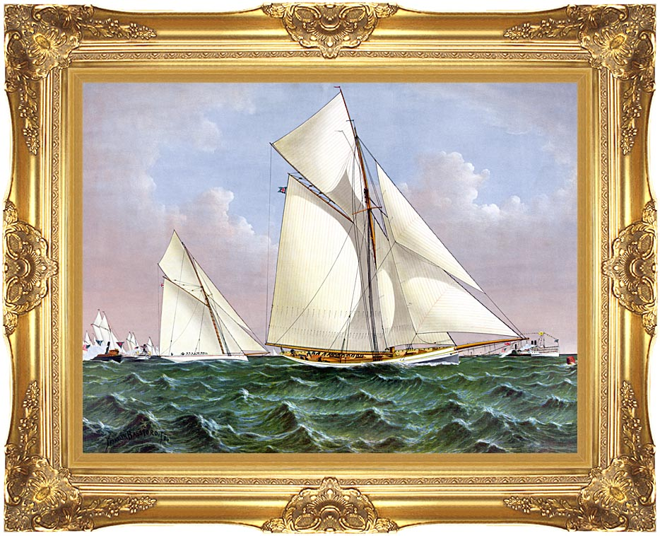 Currier and Ives Mayflower Saluted by the Fleet with Majestic Gold Frame