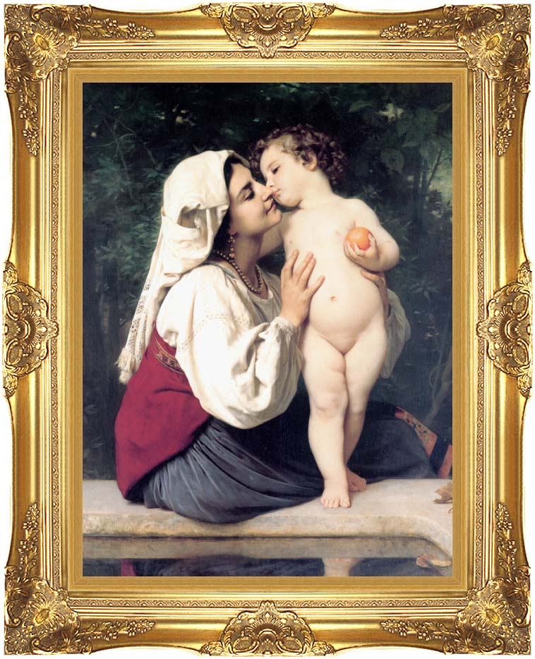 William Bouguereau A Child's Kiss with Majestic Gold Frame