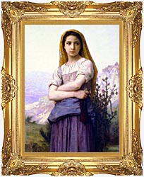 William Bouguereau The Knitter canvas with Majestic Gold frame